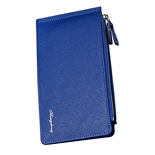 Men's Vintage Genuine Leather Long Secretary Wallet - Slim Long Multipurpose Versatile Vertical Bifold Checkbook Cover