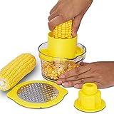 Functional Kitchen Tool - Mandoline Slicer Corn Stripper Kerneler Peeler Ginger Sharpener Garlic Plane Cutter with Container