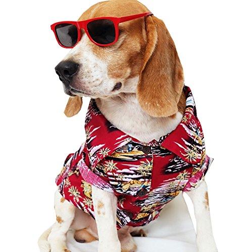 Runncha shop Dog Shirts Summer Camp,Dog Shirts,Dog Clothes,Small,Medium,Large,Colorful shirts,T Shirt Pet Clothing, Puppy Clothes,Summer Dog Apparel,Hawaiian styles,Red hawaiian shirts 1