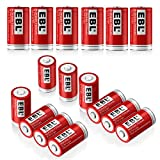 EBL RCR123A Batteries (16 PCS) 750mAh Lithium-ion Rechargeable Batteries for Flashlight Arlo Wireless Security Cameras