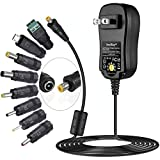 [Upgraded Version] SoulBay Universal AC/DC Adapter Multi-Voltage Regulated Switching Power Supply with 8 Selectable Adapter Plugs, for 3V to 12V Home Electronics - 2Amps Max