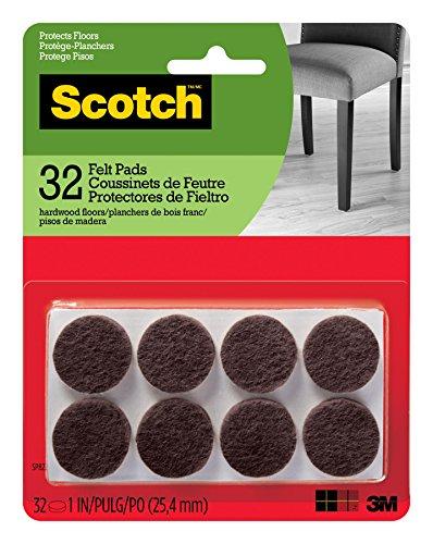 Scotch Brand SP822-NA Scotch Felt Pads Round, 1 in. Diameter, Brown, 32/Pack,