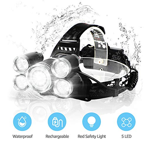 LED Headlamps, Neolight Super Bright 5 LED High Lumen Rechargeable Zoomable...