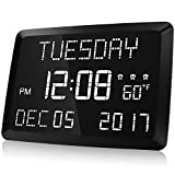 Digital Clock, Raynic 11.5' Large LED Word Display Dimmable Digital Wall Clock,Adjustable Brightness Digital Alarm Clock with Day and Date,Indoor Temperature,Snooze,12/24H,DSTfor Home, Office,Elderly