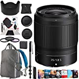 Nikon NIKKOR Z 35mm f/1.8 S Z Mount System Mirrorless Wide Angle Prime Lens Bundle with Photo and Video Professional Editing Suite, Backpack, 62mm Filter Kit, 72 Inch Monopod and Cleaning Kit