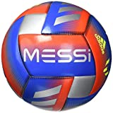 adidas Messi Glider Soccer Ball Football Blue/Active Red/Silver Metallic, 3