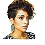 Vibola Women Short Black Brown FrontCurly Hairstyle Synthetic Hair Wigs For Black Women Wig cap
