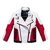 Budermmy Boys Leather Motorcycle Pilot Jackets Toddler Coats White Size 10
