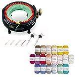 addi Express King Size Knitting Machine Kit Includes 46 Needles Bundle with 20 Skein 100% Cotton Mini Yarns