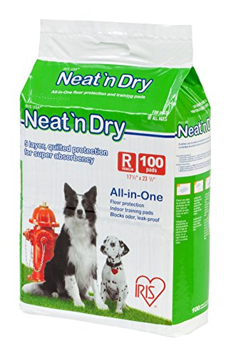 IRIS Neat 'n Dry Premium Pet Training Pads, Regular, 17.5' x 23.5', 100 Count