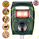 FIERRE SHANN Ultrasonic Animal Repeller Solar Powered Waterproof Outdoor Pest Repeller with Ultrasonic Sound Motion Sensor and Flashing Light for Cats,Squirrels,Moles,Dogs,Rats, Etc.