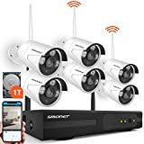 Wireless Security Camera System,SMONET 8-Channel 960P Wireless Video Security System(1TB Hard Drive),6pcs 960P(1.3MP) Waterproof Wireless IP Security Cameras,Super Night Vision,P2P, Free APP