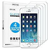 [4 Pack] OMOTON Tempered Glass Screen Protector Compatible with iPhone SE/5S/5C/5