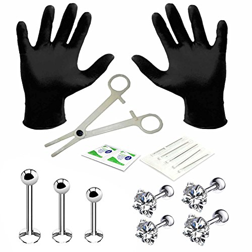 BodyJ4You 15PC PRO Piercing Kit Steel 16G Square CZ Labret Tragus Monroe Stud Barbell Body Jewelry