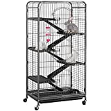 Yaheetech 52' 6 Level Metal Rabbit Cage with 3 Front Doors/Feeder/Wheels Small Animal Cage Hutch for Ferret Bunny Indoor Outdoor,Black