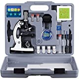 AmScope 120X-1200X 52-pcs Kids Beginner Microscope STEM Kit with Metal Body Microscope, Plastic Slides, LED Light and Carrying Box (M30-ABS-KT2-W)