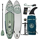 Peak Expedition Inflatable Stand Up Paddle Board | 11' Long x 32' Wide x 6' Thick | Durable and Lightweight Touring SUP | Stable Wide Stance | Moss