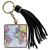 3dRose InspirationzStore Vintage Maps - Colorful Vintage World Map - distance calculations between countries on lines - south america africa - Tassel Key Chain (tkc_112941_1)
