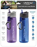 LifeStraw Go Water Filter Bottles with 2-Stage Integrated Filter Straw for Hiking, Backpacking, and Travel (Pack of 2), Purple and Blue