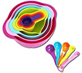 Tenta Kitchen 13 Piece Mixing Bowl Set with Measuring Cups and Spoons - Large and Small Plastic Mixing Bowls with Colander and Micro Strainer - Nesting Colorful Kitchen Bowls for Baking and More