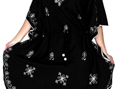 La Leela Rayon Embroidered womens swimwear swimsuit bikini kimono cover up  Lounge Office wear Hawaii Embroidered Black Gifts d1121235f