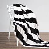 """NTBAY Flannel Throw Blankets Super Soft with Black and White Stripe (51""""x 68"""")"""