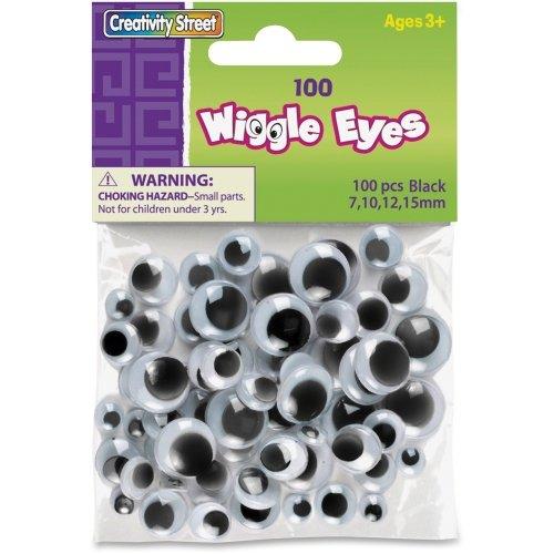 Creativity Street Wiggle Eyes Assorted Sizes, Black, 100-Piece (CKC344602)