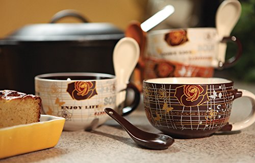 Decorative Touch Ceramic Soup Bowl Set with Spoon (4)