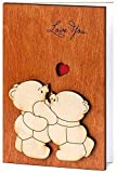Handmade Real Wood Love You Teddy Bears Funny Novelty Happy Birthday Greeting Card Mothers Day Bday 5th Dating Wedding Anniversary Wooden Gift for Him Her Boyfriend Girlfriend Husband Wife Mom Dad e