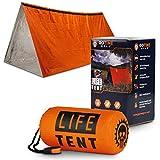 Go Time Gear Life Tent Emergency Survival Shelter - 2 Person Emergency Tent - Use As Survival Tent, Emergency Shelter, Tube Tent, Survival Tarp - Includes Survival Whistle & Paracord (Orange)