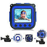 PROGRACE [Upgraded] Kids Waterproof Camera Action Video Digital Camera 1080 HD Camcorder for Boys Toys Gifts Build-in Game(Blue)