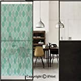 Turquoise 3D Decorative Film Privacy Window Film No Glue,Frosted Film Decorative,Lined Endless Chained European Medieval Gradient Patterns Mosaic Ceramic Illustration,for Home&Office,17.7x70.8Inch Blu