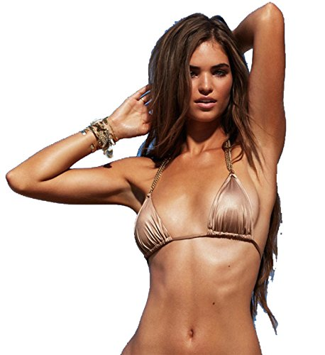514n3lnyvqL Triangle bikini top with gold chain neck straps Ties at the neck and back