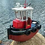 FidgetKute DIY Mini Tugboat Rescue Simulation RC Boat 1:18 Scale ABS Wooden Model Ship Kit Show One Size