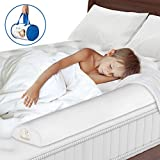 Toddler Bed Rail - Non-Toxic, Water-Resistant Foam Toddler Bed Rail bumper Guard Provides Safety and Reassurance – White, Machine Washable Cover– Non-Slip Side Bed Rail for Kids + Travel Case (1 Pack)