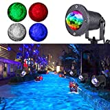 KOOT Water Wave Light Projector, 10 Multi Colors Christmas Halloween Outdoor Garden Light Water Effect or Flame Fire Effect Waterproof with Remote for Landscape Party Wedding Holiday