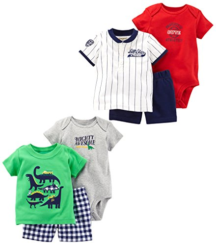 a55ba0715 Carter's Baby Boys' 6-Piece Bodysuit Tee and Short Set, Green Dino/Stripe  Allstar, 12 Months