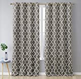 HLC.ME Lattice Print Thermal Insulated Room Darkening Blackout Window Grommet Curtains for Bedroom - Grey - 52' W x 96' L - Pair
