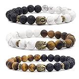 Bivei Natural Lava Stone/White Turquoise/Tiger Eye Stone Essential Oil Diffuser Bracelet - Bronze Buddha Head Buddhist Prayer Beads Mala Meditation Protection Healing Jewelry?Setof 3