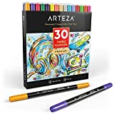 ARTEZA Fabric Markers, Set of 30 Assorted Colors, Permanent and Machine Washable Ink Ideal for Coloring Jeans, T-Shirts, Sneakers, Backpacks, Jackets, and More