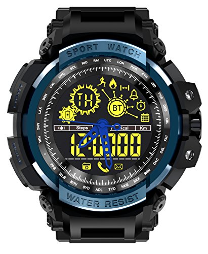 LEMFO LF21 Smart Watch Outdoor Sport Men Alloy Case with Silicone Strap Waterproof 5ATM with Heart Rate Monitor Pedometer Alarm Backlight Bluetooth 4.0 290mah Battery for Android iOS Energy, Distance