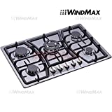WindMax 30' Black Titanium Stainless Steel 5 Burner Built-In Stoves Gas Cooktop Cooker