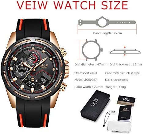 Lige Men's Watch Fashion Waterproof Silica Gel Chronograph Luxury Business Analog Quartz Watches Classic Black Belt Date Calendar Watch 6