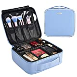 Joligrace Upgraded Makeup Train Case 10.4' PU Cosmetic Bag Travel Size Organizer with Brush Holder Pockets and Removable Dividers Baby Blue