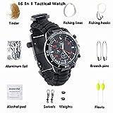 TECH-P 16-in-1 Water Resistant Survival Tactical Emergency Watch Bracelet Hiking Camping Kit-Black