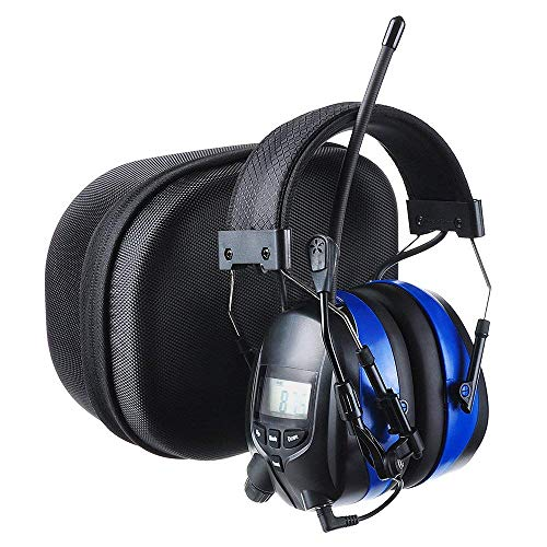 PROTEAR Bluetooth Hearing Protector Earmuffs MP3/AM/FM Radio with Boom Microphone, Electronic Noise Reduction Safety Ear Muffs with a Carrying Case, NRR 25dB Wireless Headphones for Mowing Lawn