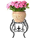 Metal Potted Plant Stand 10 inch Rustproof Decorative Flower Pot Rack with Curved Legs Indoor Outdoor Iron Art Planter Holders Garden Patio Steel Fern Pots Containers Supports Corner Black