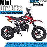 SYX MOTO Kids Mini Dirt Bike Gas Power 2-Stroke 50cc Motorcycle Holeshot Off Road Motorcycle Holeshot Pit Bike, Fully Automatic Transmission, Red