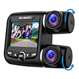SUAOKI Dual Dash Cam with Front and Rear Full HD 1920x1080p 2.0 Inch Display and 170° Wide Angle with G-Sensor Night Vision Loop Recording, WDR 128GB for Uber Lyft Cars Taxi Trucks