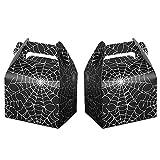 24pcs Halloween Favor Boxes Paper Black Spider Web Gift Bags Halloween Treat Boxes for Halloween Kids Birthday Decorations Spider Birthday Party Supplies